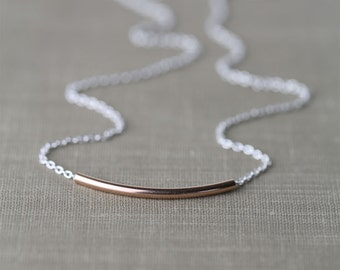 SALE Minimalist Rose Gold & Silver Necklace / Curved Tube Simple Bar Necklace