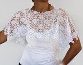 White Lace Shoulder Wrap in Shabby Chic, Bridal Lace Capelet, Romantic Top Shrug. Handmade, unique design