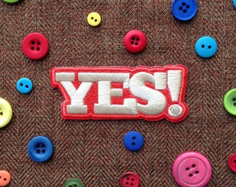 Yes! Iron-On Patch, Yes, Happy, Fun, Patch, Retro