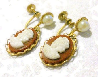 Vintage Cameo and Faux Pearl Drop Earrings