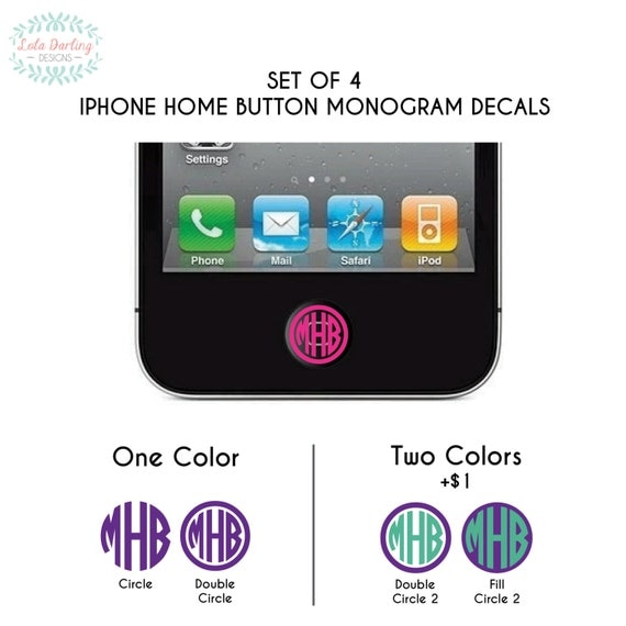 iphone home button settings set of 4 iphone home button monogram vinyl by 1388