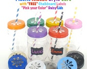 20 Plastic Mason Jars w/ FREE Chalkboard Labels / Plastic Jars, 20 Daisy Cut Jar Lids & 20 Chalkboard Labels / Paper Straws Discounted Price