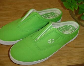 SALE - Canvas Slide-on Shoes, Champion Canvas Shoes, Summer Slip-On Shoes, Green Canvas Slide Shoes, Canvas Step-in Shoes. Shoe Slides