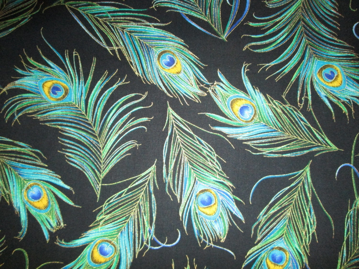Peacock Feathers Teal Blue Green Gold Metallic Black Cotton