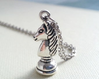 Knight Necklace. Antique Silver Horse Charm Necklace. Chess Pendant. Silver Knight. Costume Jewelry. Steampunk. Geekery Jewelry