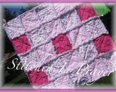 Pink Posies Baby Girl Rag Quilt, Baby Girl Blanket, Quilt, Stitched In Prayer