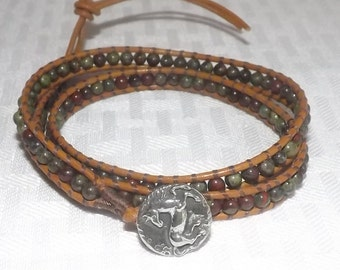 Handcrafted Triple wrap Chan Luu Style Leather and Dragon Blood Bracelet - Pewter Horse Button Clasp