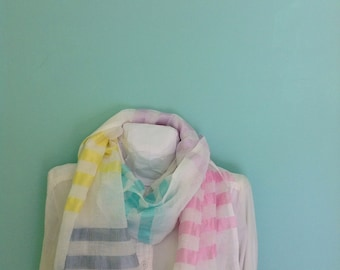 Gauze cotton striped scarf- silk Custard yellow strawberry lavender mint and white striped scarf-Women gift- Mother's day gift