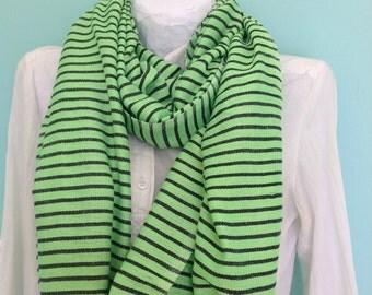 Green Neon & black Cotton Men Women Hand-Woven Ethiopian scarf 2014, Neon Green Black Nautical Accessories Scarves- Stole wrap shawl