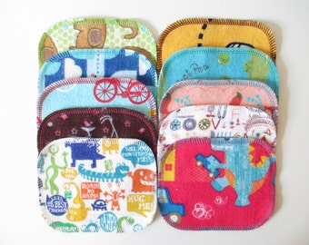 Reusable Cloth Wipes--Mini Size--Makeup Removal--Set of 10--Fun Kids Mix--Ready to Ship