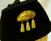 Vintage Early Plastic Dangle Brooch Yellow Marbled 1940
