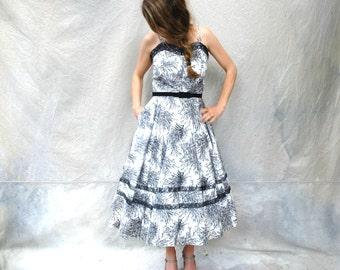 1950s full skirt sundress - 50s black and white tea length summer dress - medium