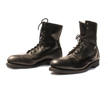 12 | ALTIMA Steel Toe Military Boots Black Leather Combat Boots
