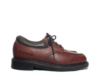 7.5 D | Vintage Red Wing Shoes Lace Up Moccasin Stitch Toe Work Shoes
