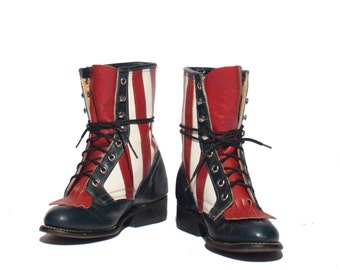 5 1/2 M |  Women's Vintage Lace Up Roper Boot Americana Red White Blue Western Ankle Boot