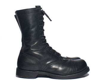 10.5 EE | Vintage Combat Boots Lace Up Corcoran Jump Boots Cap Toed Military Boot