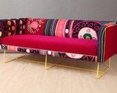Suzani box sofa - pink n blue