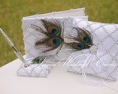 White Peacock Feather Guestbook, Pen and Ring Pillow