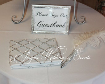 Feather and  Bling Pen, Guestbook and Sign