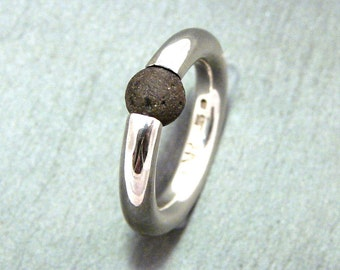 "Sterling Silver Ring : "" Shiny Lava Ball """