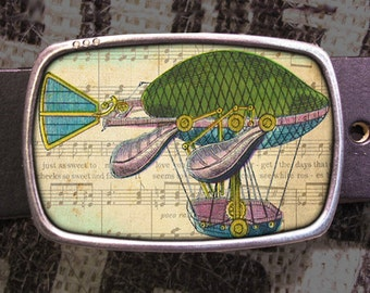 Hot Air Balloon Belt Buckle, Vintage Inspired, Shabby Chic 539