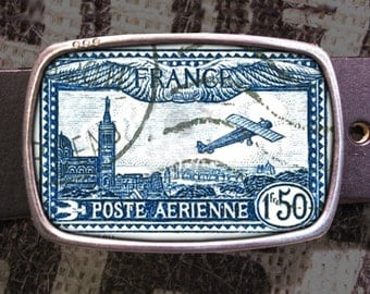 France Stamp Belt Buckle, Vintage Inspired, Shabby Chic 607