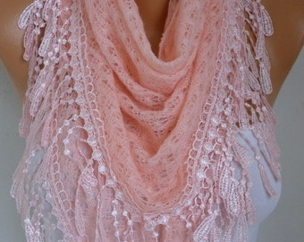 Salmon Knitted Lace Scarf Shawl Cowl Oversized Bridesmaid Bridal Accessories Gift Ideas For Her Women Fashion Accessories Mother Day Gift