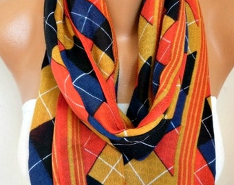 Mustard Plaid Cotton Infinity Scarf, Tartan Scarf, Cowl Scarf, Circle, Loop Oversized Gift Ideas For Her, Women Fashion Accessories