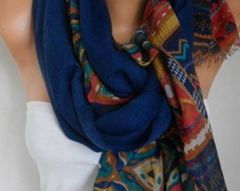 Royal Blue Cotton Scarf,Summer Shawl,Bohemian Cowl Oversized Wrap Bridesmaid Gift Gift Ideas For Her Women Fashion Accessories Women Scarves