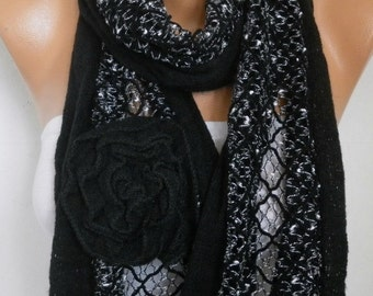 Black Floral Knitted Scarf Spring Summer Scarf Shawl Oversized Wrap Bridesmaid Gift Ideas For Her Women Fashion Accessories Mother Day Gift