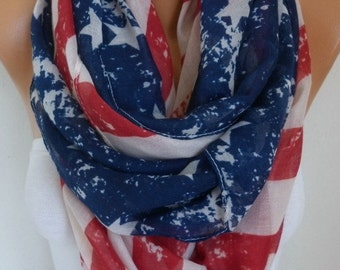 Vintage American Flag Scarf American Scarf Cotton Star Scarf Patriotic Scarf July 4th Scarf Memorial Day Gift Ideas Soft Red Blue Off White