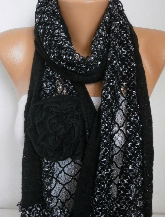 Black Floral Knitted Scarf,fall winter Scarf Shawl Oversize Wrap Bridesmaid Gift Ideas For Her Women Fashion Accessories,christmas Gift