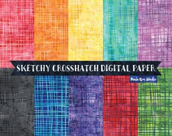 Sketchy Crosshatch Doodle Digital Paper Pack, Watercolor Backgrounds, Instant Digital Download Images, Digital Scrapbook