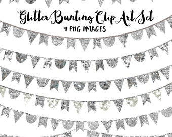 80% OFF SALE Sparky Silver Glitter Clip Art, Silver Bunting Banner Clipart, Silver Clip Art Instant Download Images for Commercial Use