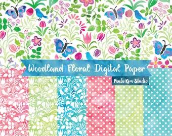 Watercolor Digital Paper Pack, Floral Pattern Digital Paper, Instant Download