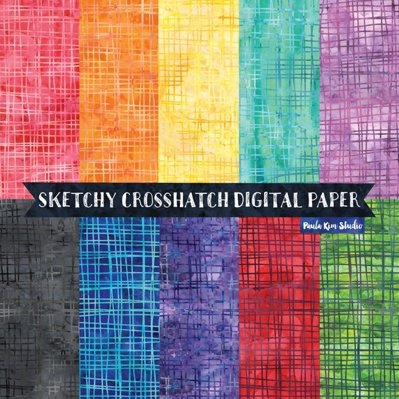 Sketchy Crosshatch Doodle Digital Paper Pack Watercolor