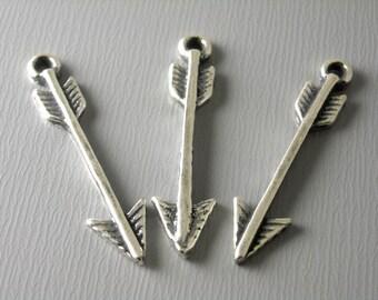 Oxidized Sterling Silver Arrow Charm - 1 pc