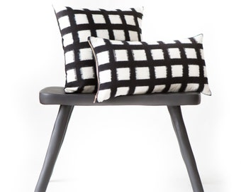 Handwoven Checked Double Ikat Pillow in Black