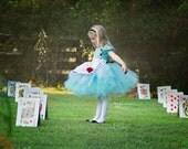 Alice Dress...Wonderland Inspired Dress..Custom Colors...Birthday Dress, Flower Girl, Photography Prop