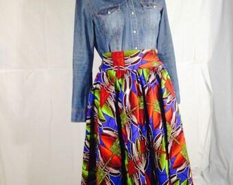 """Ankara African Skirt/Ankara African style/ African clothing/African fabric/ Ankara short Skirt  27/28 waist, L22"""""""