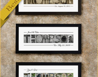Wedding Gift, Personalized Wedding Gift for Couples, Last Name Sign, Personalized Gift, Alphabet Art Photos, Anniversary Gift, Gift for Her