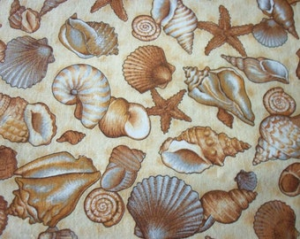 Seashells By The Seashore  Fabric By The Fat Quarter New BTFQ