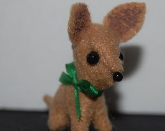 Miniature Felt Chihuahua - green bow - c002