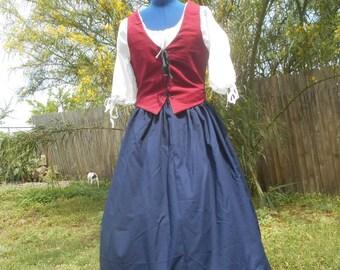 3 Piece Set, Chemise, Petticoat, Bodice. Renaissance / Colonial / Reenactment /  Civil war / Pioneer /