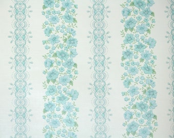 Retro Wallpaper by the Yard 70s Vintage Wallpaper - 1970s Blue Floral and Lace Stripes