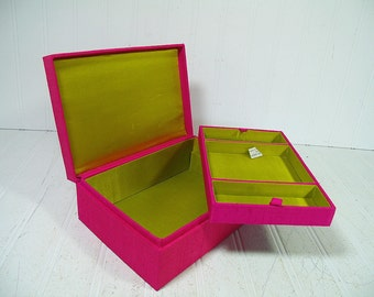 Vintage Fuschia Pink Thai Silk 2 Piece Jewelry Box Made in Hong Kong for Design by Lyn - Hot Pink Silk with Gold Silk Interior Lift Out Tray