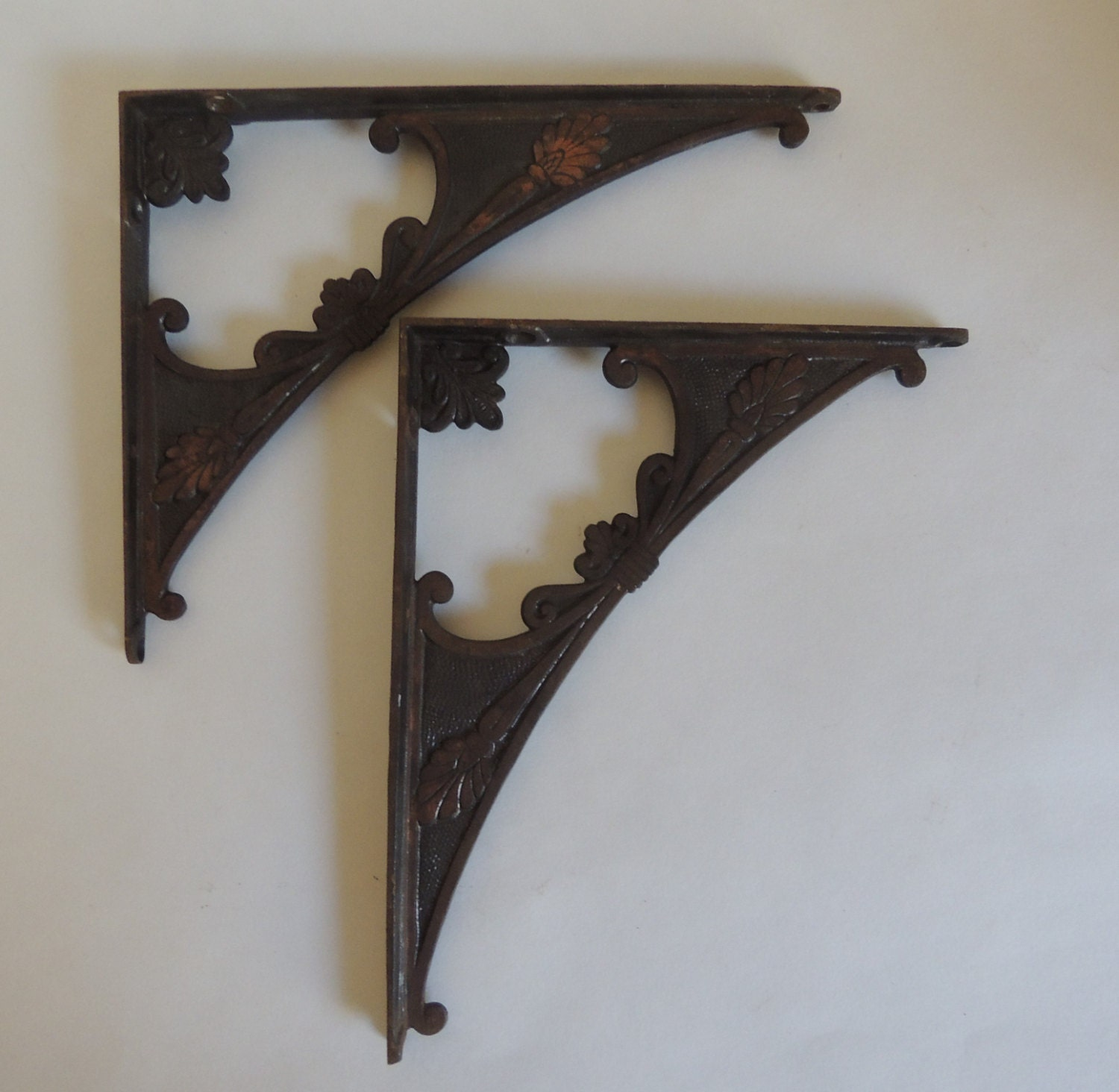antique ornate cast iron shelf brackets with by smokeshirevintage. Black Bedroom Furniture Sets. Home Design Ideas