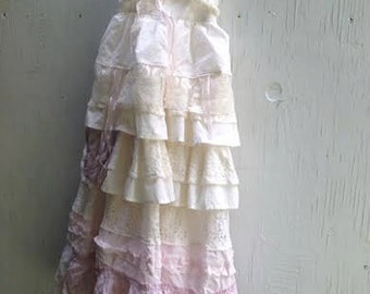 CUSTOM made to order EXAMPLE shabby white pink gauzey rustic boho flower girl off white princess eco gypsy ecru dress