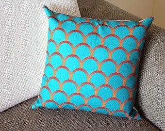 "Linen Pillow -green orange greenish curls geometrical Pillow Cover -18"" 45 cm /22"" 55 cm Decorative Cushion Cover Throw Pillow cover 166"