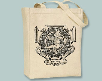 Whimsical Dancing Bear Vintage Scroll Design Canvas Tote -- Selection of  sizes ANY IMAGE COLOR